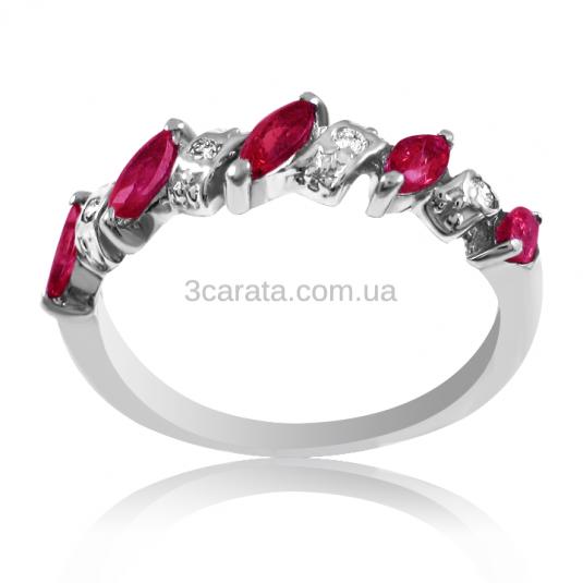 Золотое кольцо с рубином и бриллиантами «Рубиновый веночек»