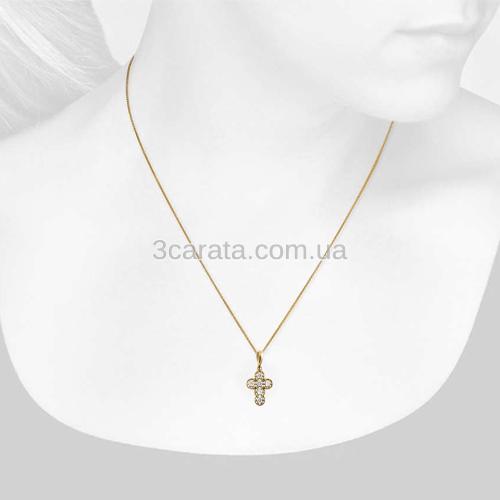 Золотой кулон крестик с фианитами «Николь»