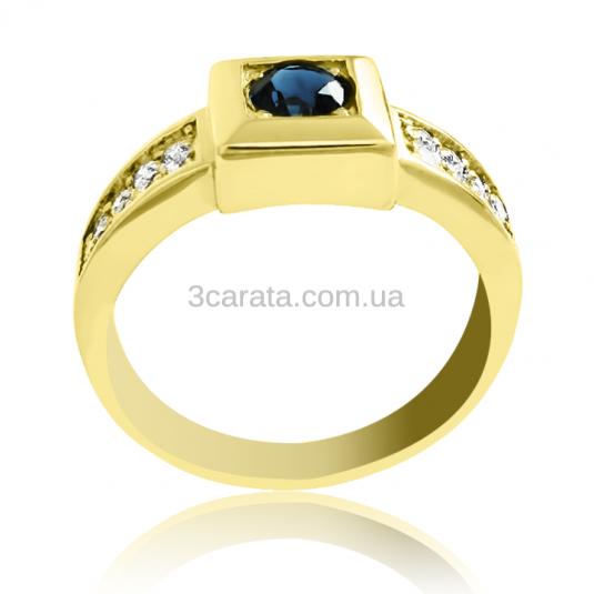 Мужской перстень с сапфиром и бриллиантами