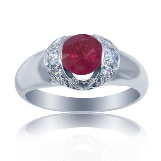 Кольцо с рубином и бриллиантами белое золото