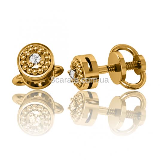 Золотые серьги гвоздики с бриллиантами «Sia»