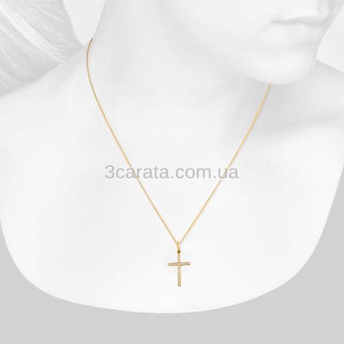 Кулон крест из золота с цирконием «Берегиня»