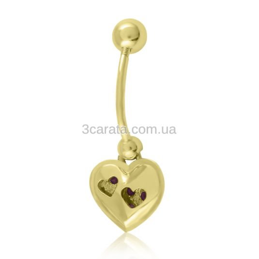 Золотой пирсинг с рубином «Драгоценное сердце»