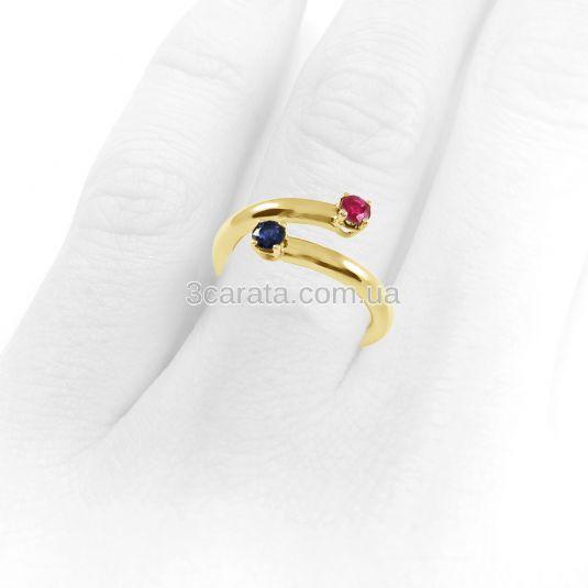 Кольцо  с рубином и сапфиром «Две планеты»