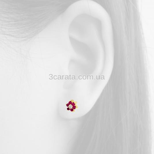 Золотые серьги с рубином «Аленький цветочек»