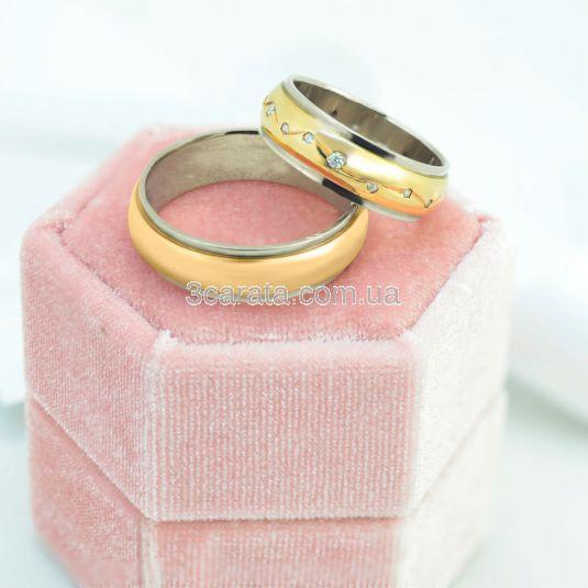 Обручальное гладкое кольцо из двух цветов золота «Provence»