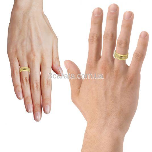 Широкое обручальное кольцо с фианитами «Inseparable»
