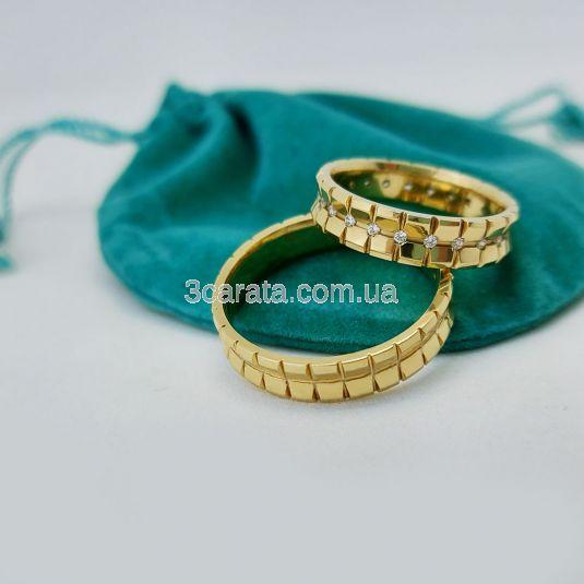 Обручальное вогнутое кольцо с дорожкой бриллиантов «Karina»