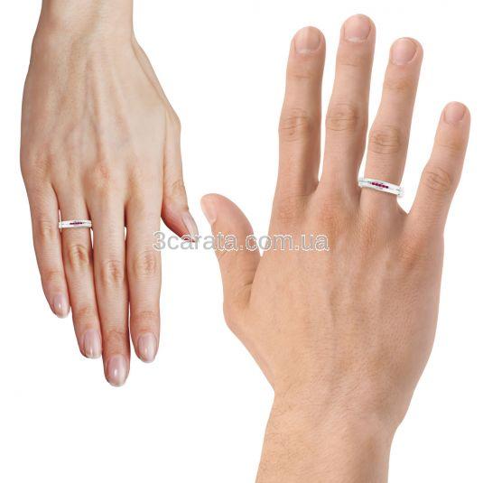 Обручальное кольцо с дорожкой рубинов «Road to love»