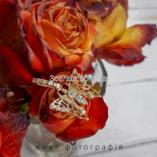 Золотой кулон с камнями Сваровски «Бабочка»