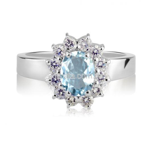 Золотое кольцо с аквамарином  и Swarovski «Королевская помолвка»