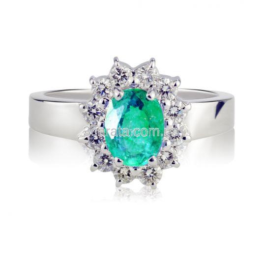 Золотое кольцо с изумрудом и Swarovski «Королевская помолвка»
