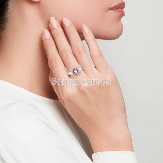 Золотое кольцо с морганитом и Swarovski «Королевская помолвка»