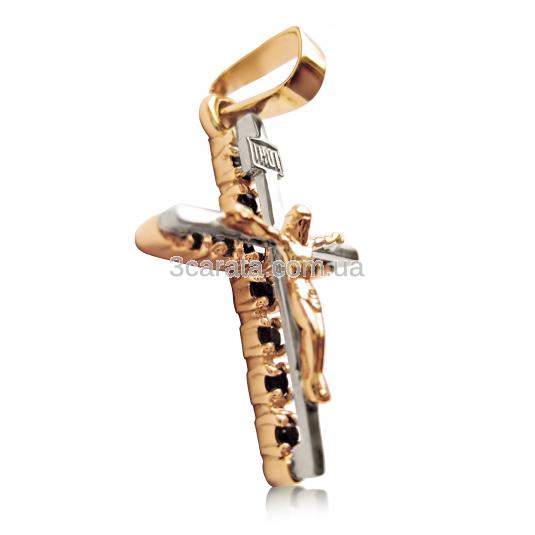 Золотой крестик с гранатами «Распятие Альмадин»