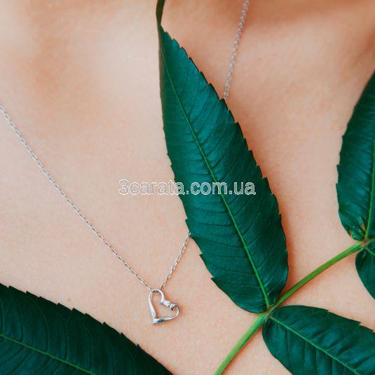 Кулон сердечко с маленьким бриллиантом «Amor»