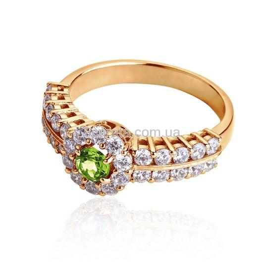 Перстень женский с хризолитом «Сон Снежной Королевы»