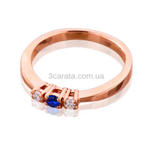 Золотое кольцо с сапфиром и бриллиантами «Выбор»