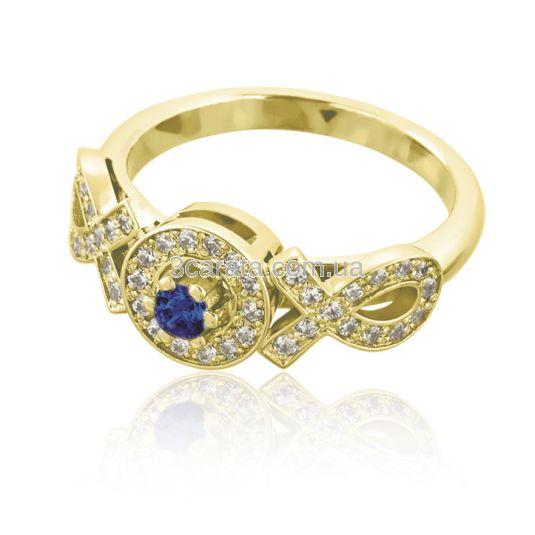 Красивое кольцо с сапфиром и кристаллами Сваровски «Идеал»