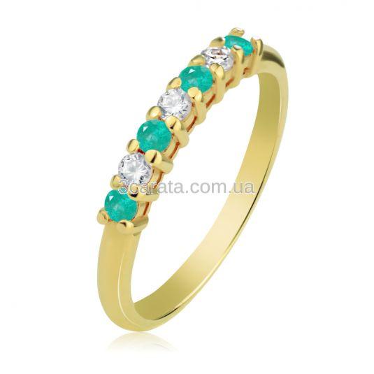 Кольцо с дорожкой из изумрудов и бриллиантов «Мечта»