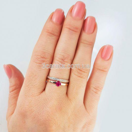 Кольцо золотое два в одном с рубином «Jamelia»