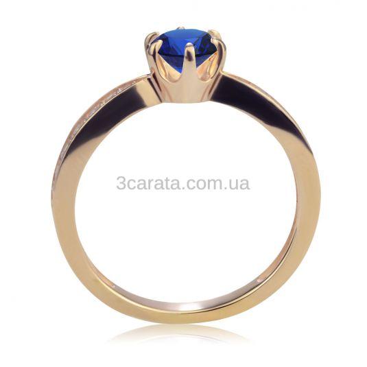 Золотое классическое кольцо с сапфиром «История любви»