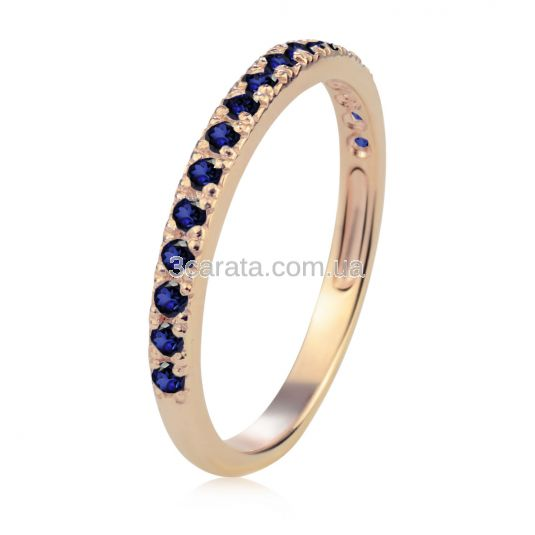 Золотое обручальное кольцо-дорожка с сапфирами «Королева сердца»