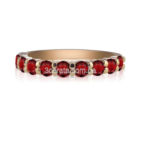 Золотое кольцо с дорожкой гранатов «Восторг»