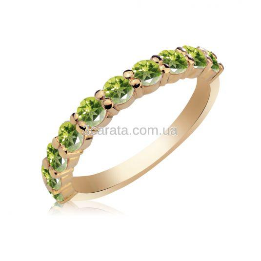 Золотое кольцо с дорожкой хризолитов «Восторг»