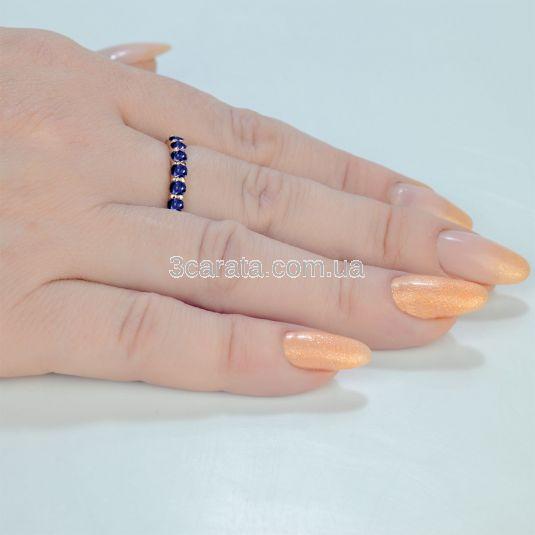 Золотое кольцо с дорожкой сапфиров «Восторг»