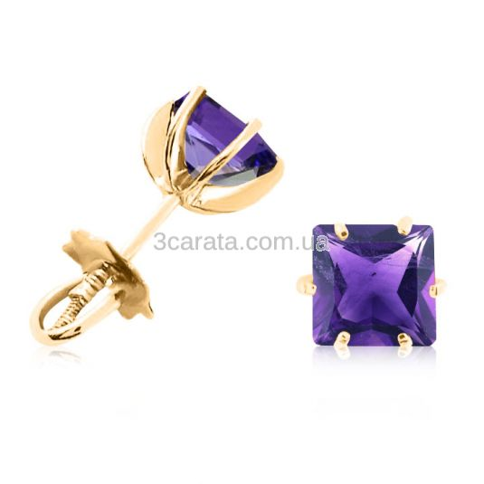 Золотые сережки гвоздики с аметистами «VIVA квадрат»