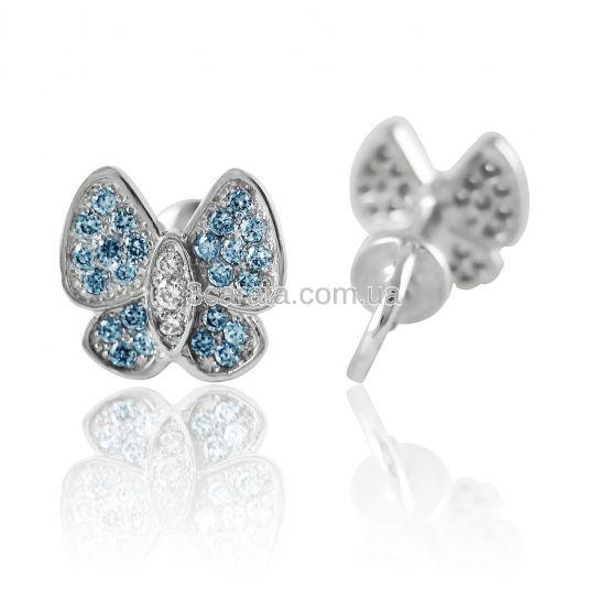 Золотые серьги с голубым топазом «Голубые бабочки»