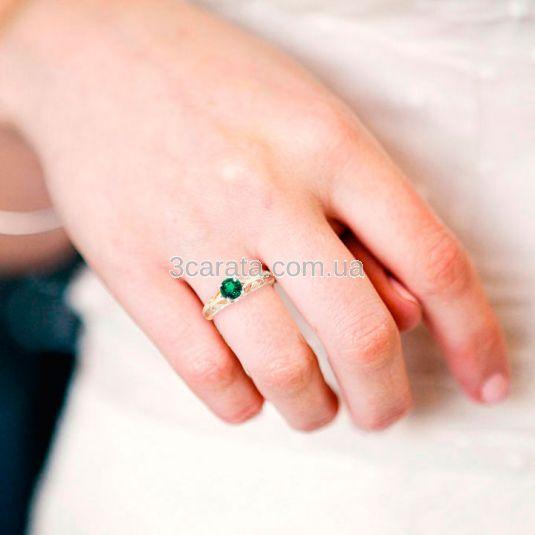 Ажурное золотое кольцо с гидротермальным изумрудом «Vintage»