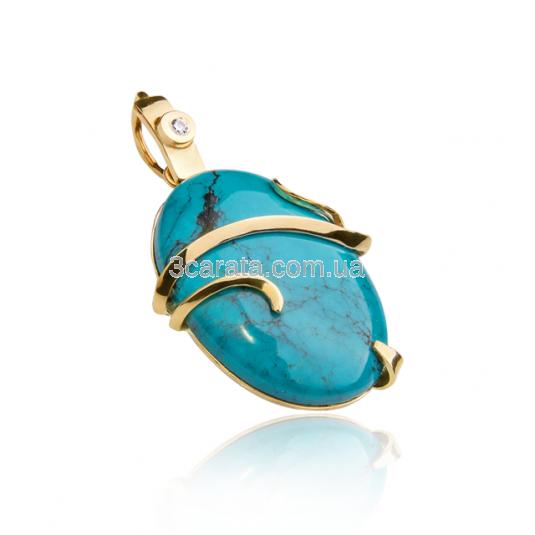 Золотой кулон с бирюзой «Эльфийский»
