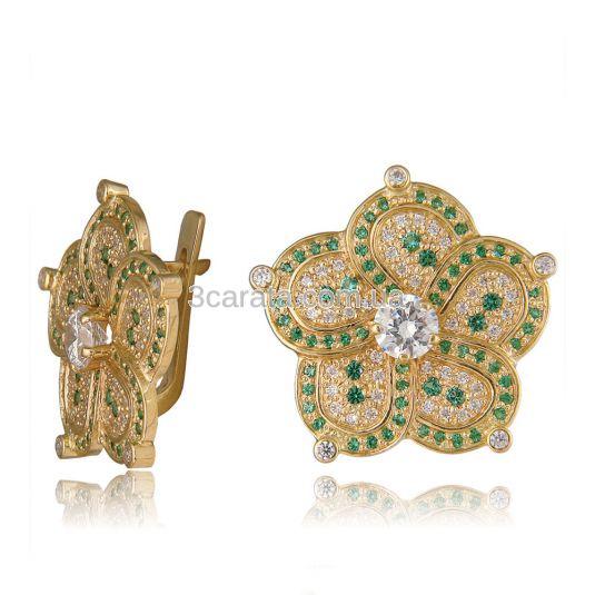 Большие золотые серьги с камнями «Девичьи грезы»