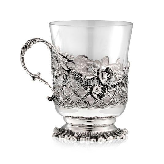 Стеклянная чашка с серебром «Маковое поле»