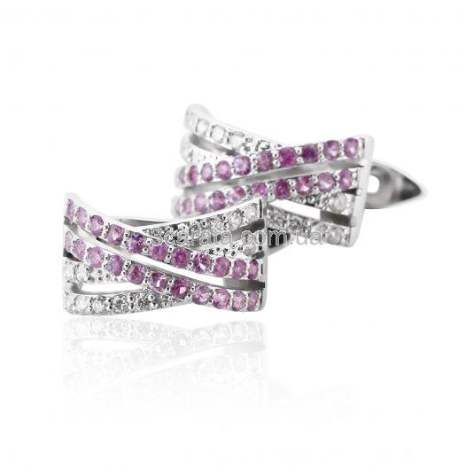 Золотые серьги с бриллиантами «Розовые мечты»