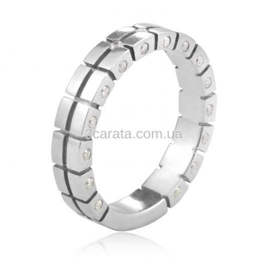 Золотое обручальное кольцо с белыми сапфирами «Tesoro»