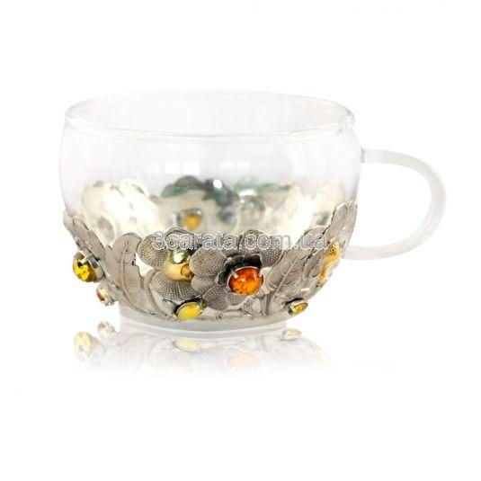 Серебряные чашка с блюдцем «Янтарный чай»