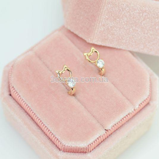 Золотые сережки в форме кошек «Little kitty»
