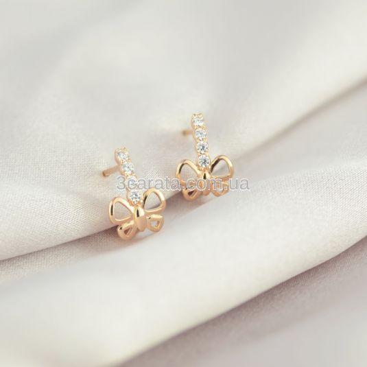 Золотые сережки бабочки для девочки «Le papillon»