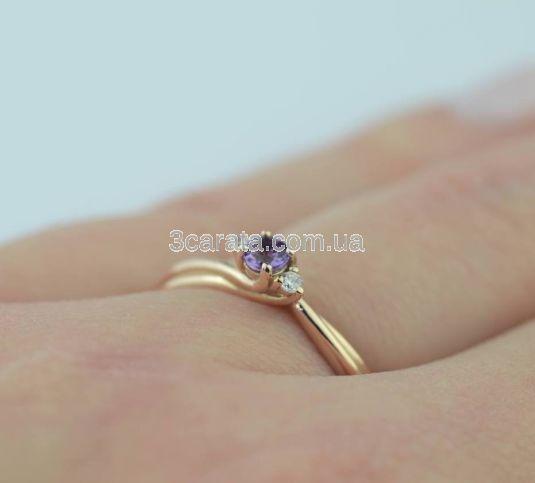 Золотое кольцо с аметистом и бриллиантами для предложения «Эвери»