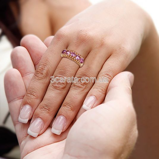 Золотое кольцо с дорожкой аметистов «Салерно»