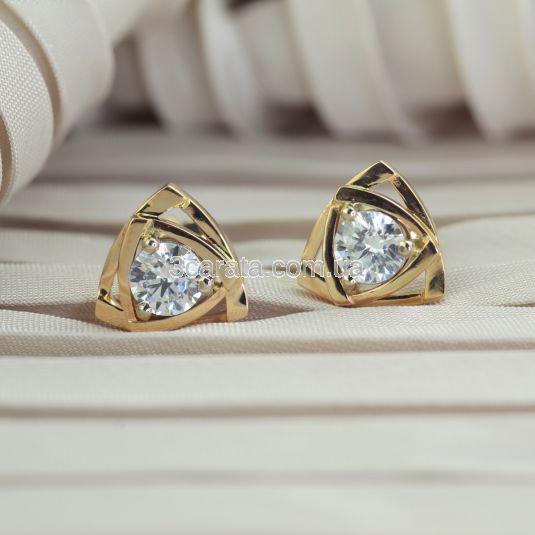 Золотые сережки пусеты с белыми сапфирами «Энигма»