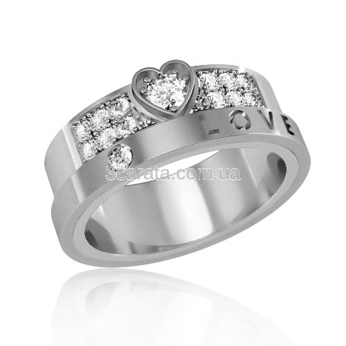 Золотое обручальное кольцо с цирконием «Love»