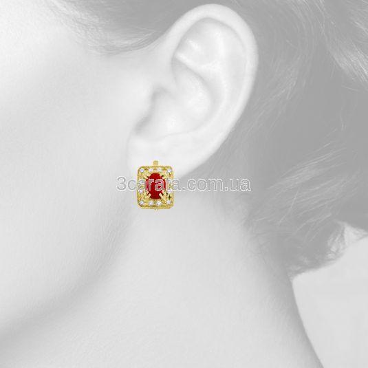Золотые серьги с кораллом «Лавина любви»