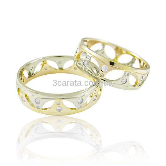 Золотое обручальное кольцо с цирконами «Огонь любви II»