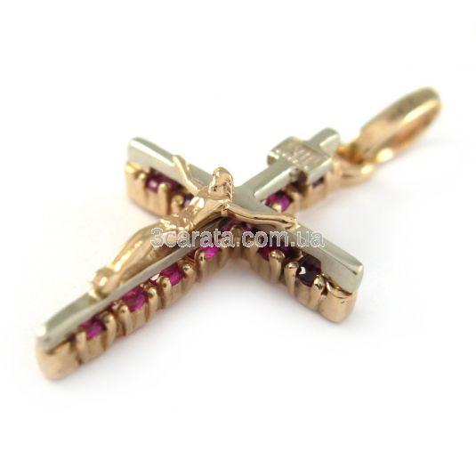 Золотой крестик с рубинами
