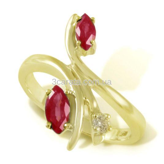Женское кольцо с рубинами «Лебединая верность»