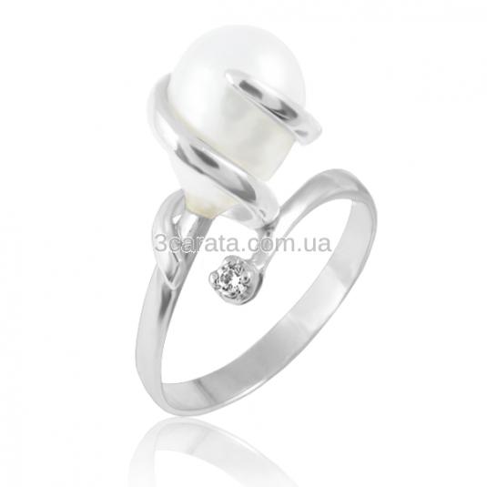 Золотое кольцо с жемчугом «Кристальное»