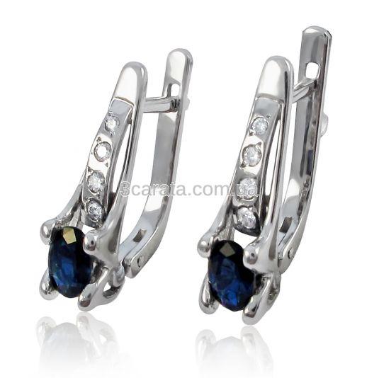 Золотые серьги с сапфиром и бриллиантами «Синее небо»